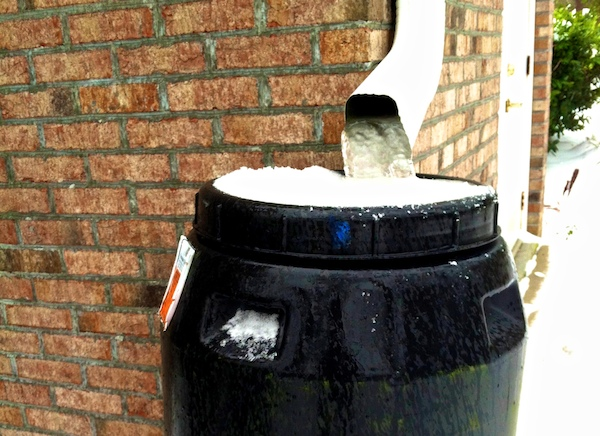 snow feb 2014 drainpipe rainbarrel frozen jim barton
