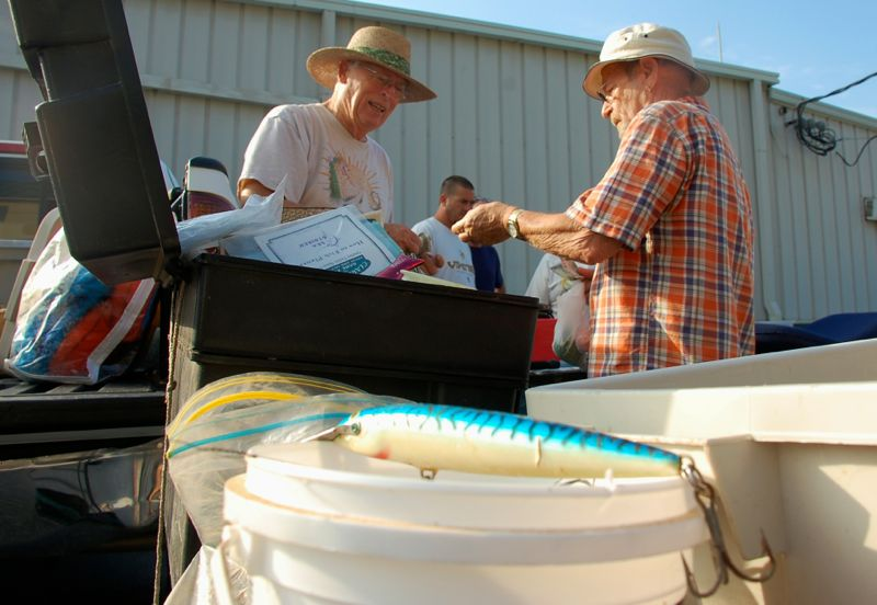 earl evans sells fish lures nautical flea market