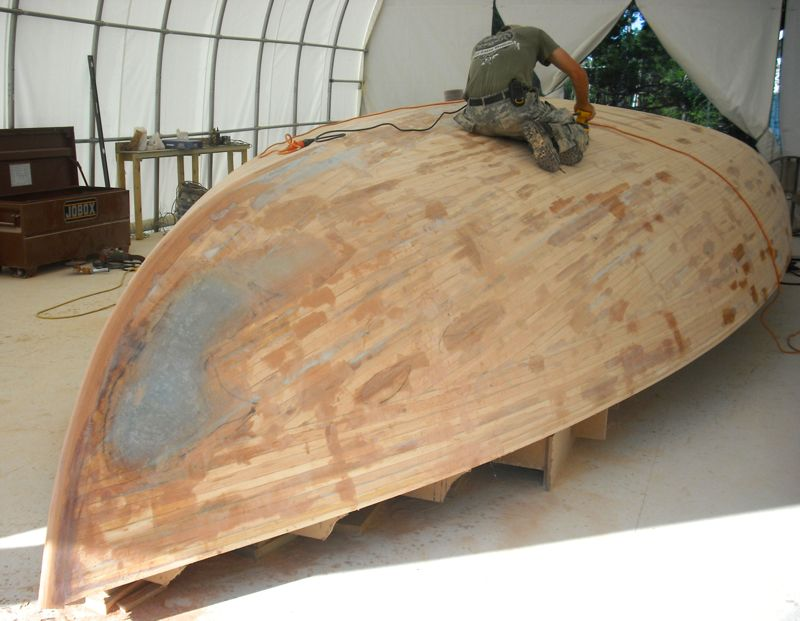 felix cat boat art halpern hull cedar strip