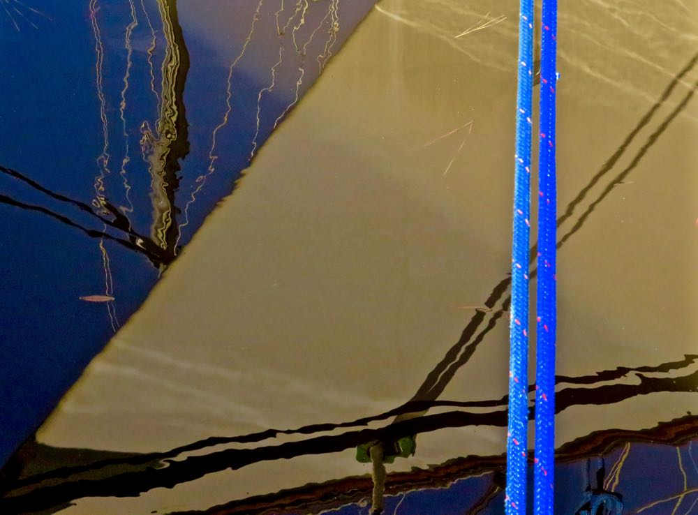 abstract hull reflection blue line
