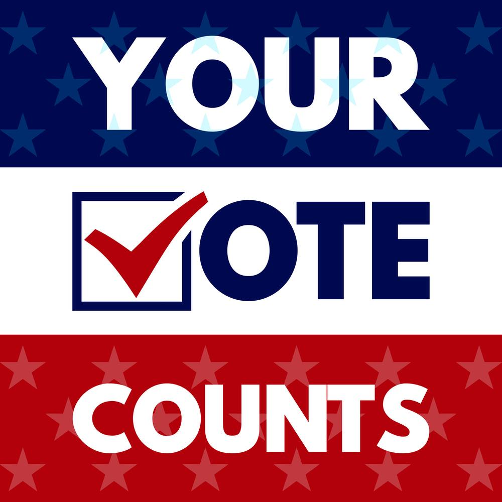 your vote counts over a red, white, and blue background