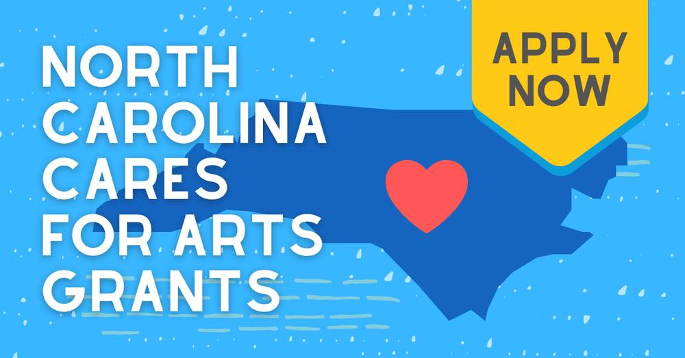 An outline of North Carolina on a blue field advertising the NC Arts Grant.