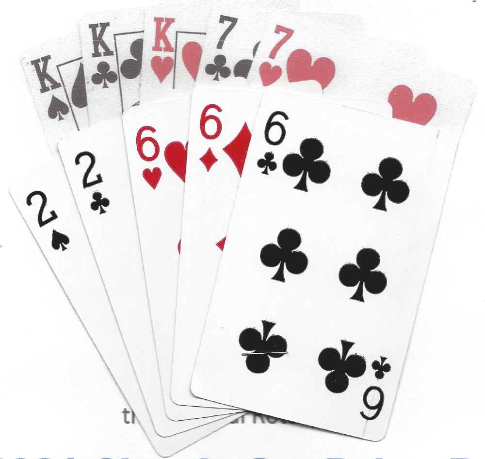 Two hands of cards of 5 cards each. Both show a full house. The winning background hand, from 2020 is three kings and a pair of 7s. The winning foreground hand from 2021 is three 6s and a pair of 2s.